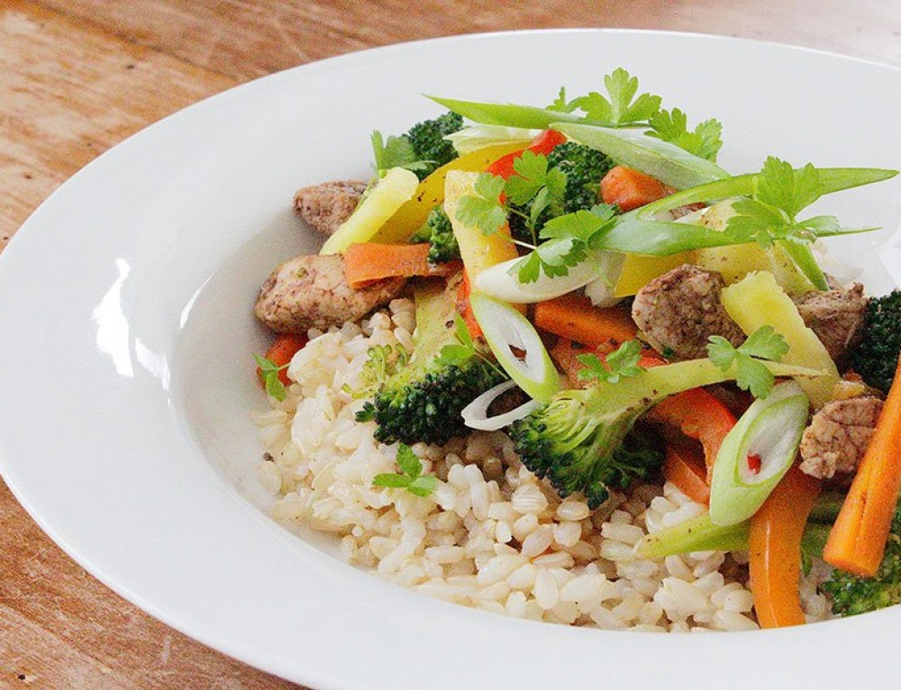 Five Spice Pork Stir-fry with Pineapple + Brown Rice