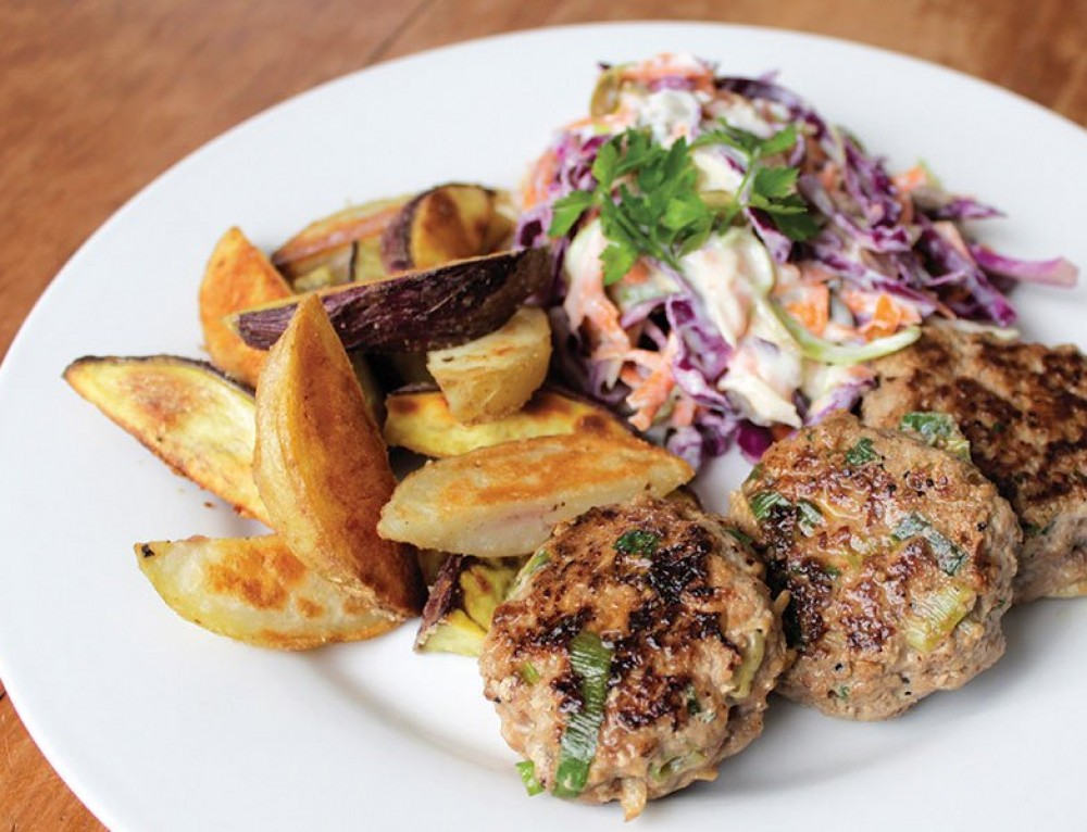 Pork and Apple Patties w Wedges & Coleslaw